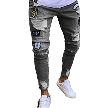 9cd11e68d8af Hellomiko Männer Denim Hosen, Stretch Skinny Fit Zerrissene Jeans Hübsche  Mode-Design Denim-Hosen  Amazon.de  Bekleidung