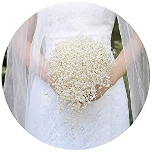 ULAPAN Wedding Bouquets for Bride,Bridal Bouquets Bridal Corsages,Ivory Pearls Wedding Bouquets,F24 93