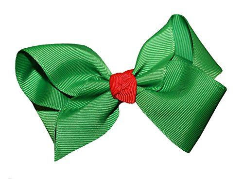 WD2U Girls Green & Red Christmas Holiday GrosGrain Hair Bow Alligator Clip 5226