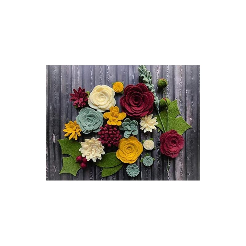 silk flower arrangements wool felt flowers - victorian christmas flowers - 19 flowers & 24 leaves - diy christmas wreaths, garlands, headbands