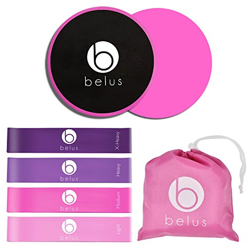 Belus Resistance Bands and Core Sliders Sets for Women - Pink and Purple - Home and Gym Fitness Equipment - Best for Full Body Workouts, Exercise and Stretching - Bonus Carry Bag and Digital Guides