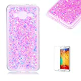For Samsung Galaxy J3 2016 Case with Free Screen Protector.Funyye Luxury Fashion Bling Glitter Paillette Flexible Soft Rubber Gel TPU Protective Case for Samsung Galaxy J3 (2016 Model)-Pink