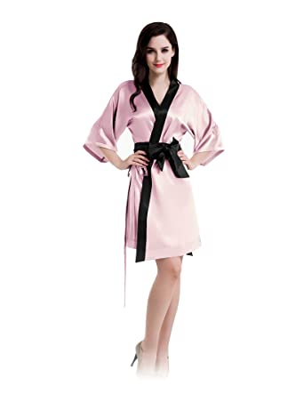 ff49f861e5 Silk Robe Nighty Sleepwear Short Pink Kimono Robe Waist Belt Set (Medium)