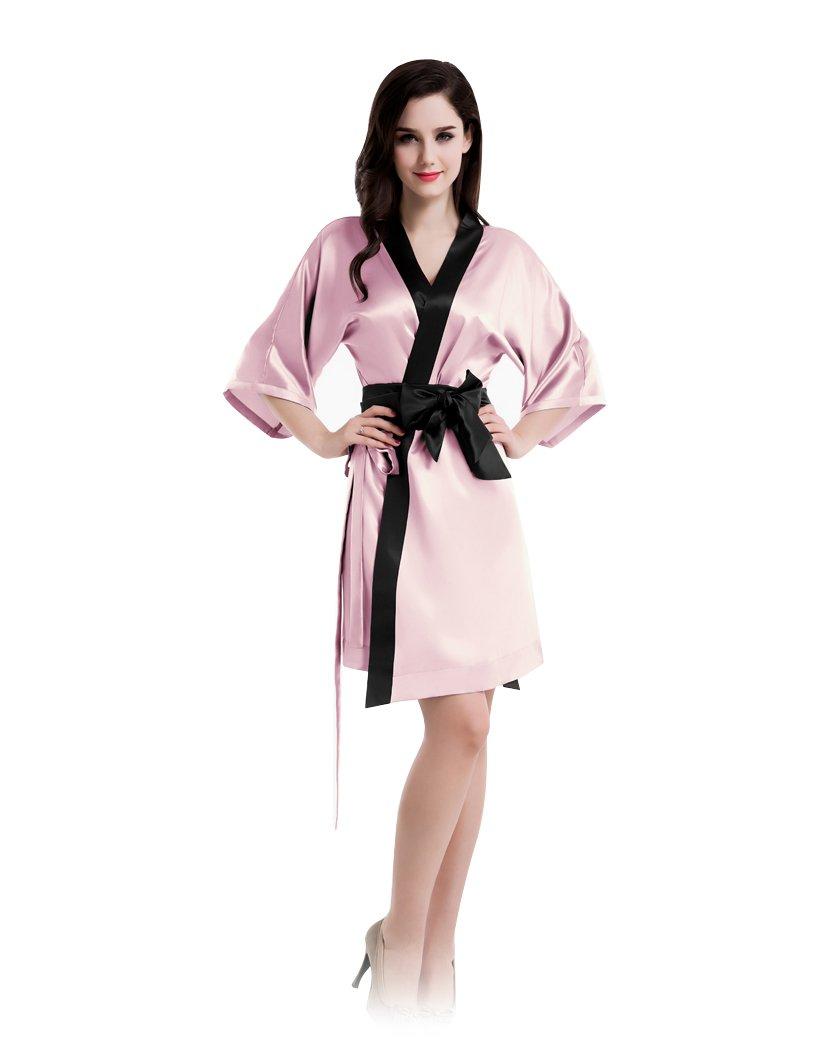 22 momme kimono sleeves short silk robe lady sleepwear