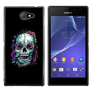 MobileHut / Sony Xperia M2 / Teal Skull Purple Nature Tattoo Ink Black / Delgado Negro Plástico caso cubierta Shell Armor Funda Case Cover