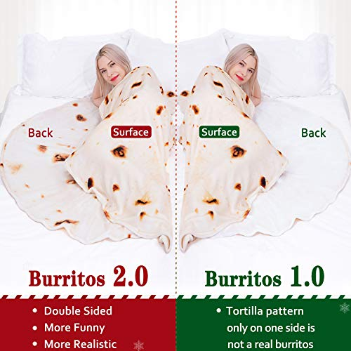 Jorbest Burritos Blanket, Tortilla Blanket for Adults and Kids, Double Sided Funny Food Throw Blanket for Everyone…
