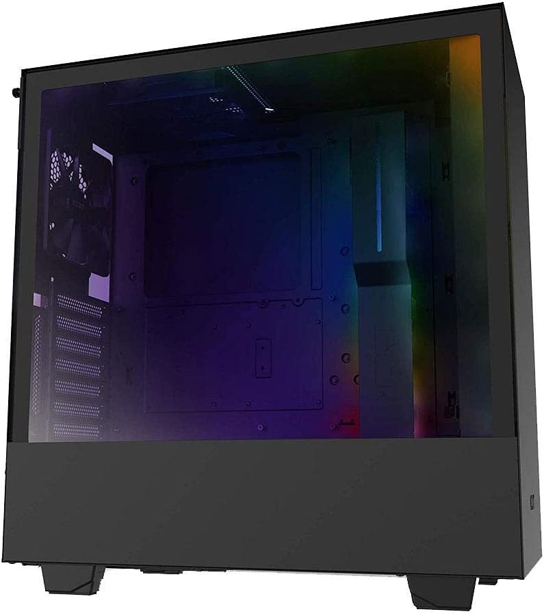 NZXT H510i - CA-H510i-B1 - حقيبة ألعاب كمبيوتر متوسطة الحجم ATX - منفذ I/O USB من النوع C - حامل وحدة معالجة الرسومات الجرافيكية عمودي - لوحة جانبية من الزجاج المقسى - إضاءة RGB مدمجة - أسود