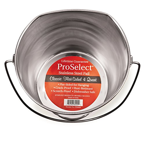 Pro Select Stainless Steel Flat Sided Pails — Durable Pails for Fences, Cages, Crates, or Kennels - 8'', 4-Quart by Pro Select (Image #2)