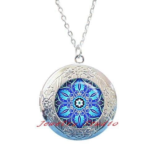 Moroccan Tile Design glass Locket Necklace, Moorish design Locket Necklace, blue and turquoise Locket Necklace blue Locket Necklace symbolic ()