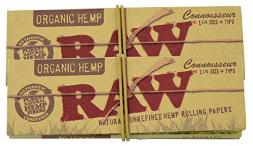 RAW Organic Hemp Connoisseur Pack 1 1/4 Rolling Papers & Tips (2 Pack) (Thermography Paper)