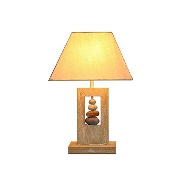 OOFAY Lichter Moderne Einfache Hohl Massivholz E27 Tuch Tischlampe Innendekoration  Stein Schreibtisch Büro Wohnzimmer Nachttisch Lichter
