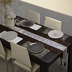 Brown Table Cloth Runner With Rhinestone & LED Lights
