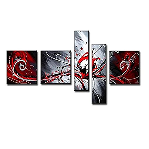 100% Hand-painted Modern Abstract Oil Painting on Canvas Peacock Pictures Wall Art for Living Room 5 Piece Black White (Red And Black Canvas Art)