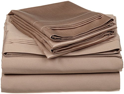 Rajlinen 4 Piece Attached with Fitted Sheet 100% Egyptian Cotton Waterbed Cotton Sheets with 15 inch Drop 600 Thread Count -Luxurious Hotel Collection -(Taupe Solid, Queen)