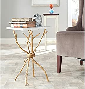 Safavieh Home Collection Alexa Marble Top Gold Accent Table