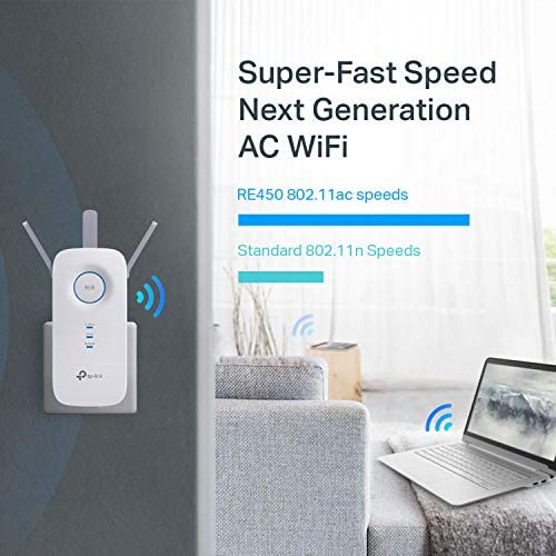 TP-Link AC1750 WiFi Extender (RE450), PCMag Editor's Choice, Up to 1750Mbps, Dual Band Wifi Range Extender, Internet Booster, Access Point, Extend Wifi Signal to Smart Home & Alexa Devices