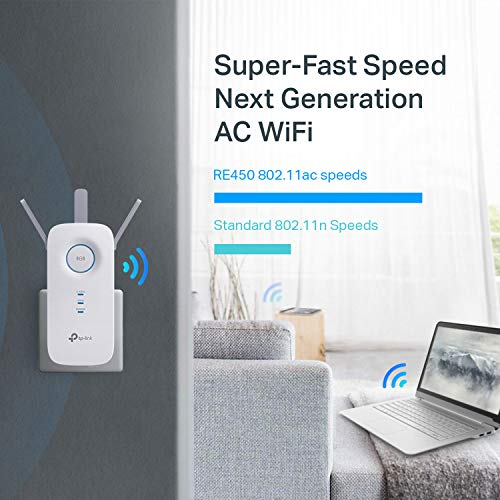 TP-Link WiFi Range Extender RE450 - PCMag Editor's Choice, AC1750 Dual Band WiFi Extender, Repeater, Internet Booster, WiFi Signal Booster, Access Point, Wall Plug Design