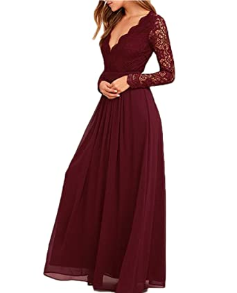 QiJunGe Womens V Neck Long Sleeves Prom Dress Backless Chiffon Bridesmaid Gowns