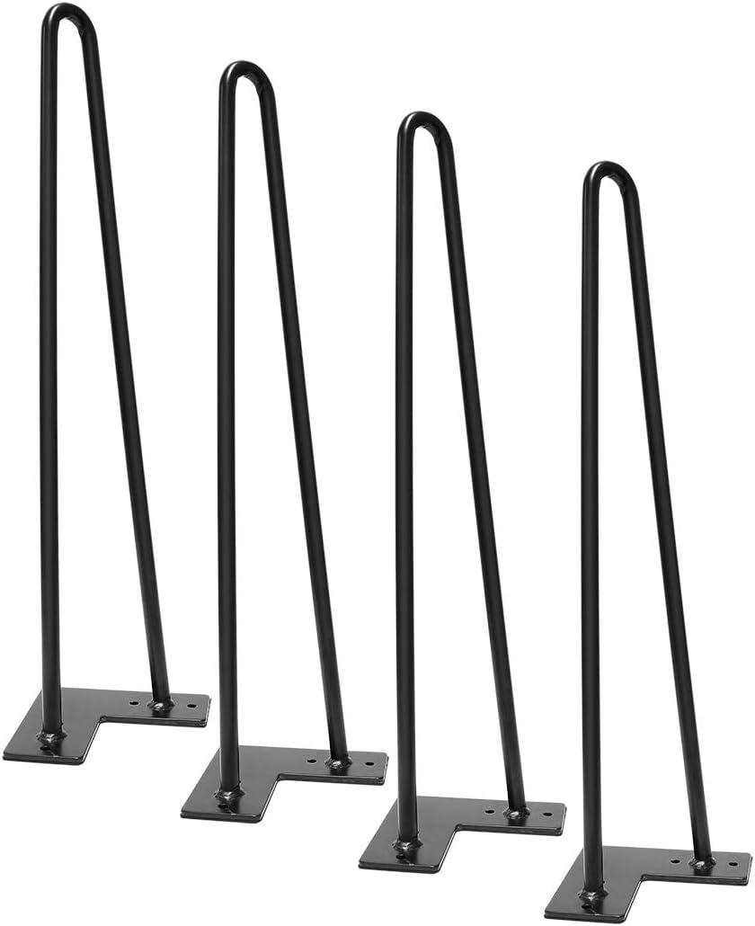Signstek 4 Patas de la mesa Hairpin Patas a Horquilla Para Mesa de Acero Robustas Con Tornillos y Bases Protectoras (19pulgada)