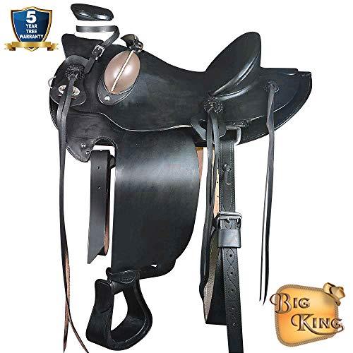 17'' HILASON Big King Western Wade Ranch Roping Cowboy Trail Horse Saddle Black