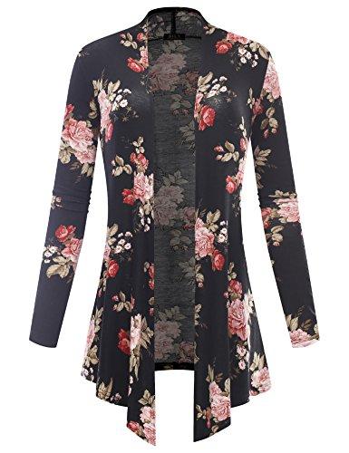 BILY Women's Open Front Drape Hem Lightweight Cardigan Floral Print 6403 Black - Cardigan Petite Print