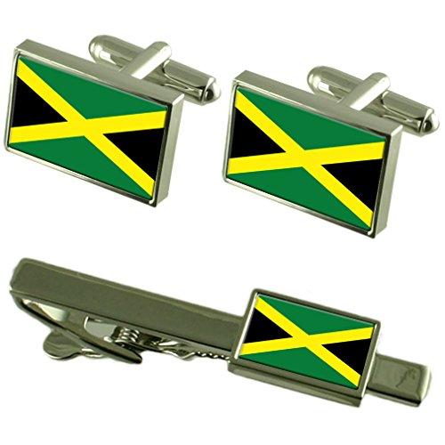 Boutons de manchette Drapeau Jamaïque-cravate un Ensemble cadeau correspondant