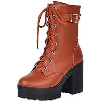 Geili Damen Schnürstiefel Halbschaft Stiefel High Heels Stiefeletten Lederstiefel mit Blockabsatz Kurzschaft Schnürstiefeletten Wasserdicht Boots Stöckelschuhe