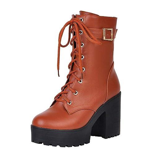 Botines De TacóN Grueso OHQ Botas De TacóN Alto Martin con Cordones Botas De Mujer con Cordones Gruesos: Amazon.es: Zapatos y complementos