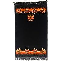 Turkish Islamic Prayer Rug Plush Velvet Janamaz Prayer Mat - Kaaba Design Black
