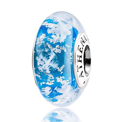ATHENAIE Genuine Murano Glass 925 Silver Core Snowflake Charm Bead Fit European Bracelets Color Light (Glass Snowflake Beads)
