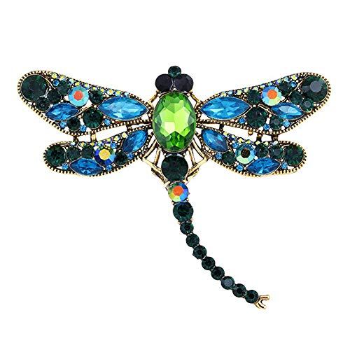 AILUOR Multi-Colors Wing Dragonfly Brooch Pin, Austrian Crystal Rhinestone Dragonfly Necklace Women Jewelry Wedding Bouquet Brooch (Green) ()