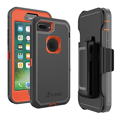 iPhone 8 Plus Case,iPhone 7 Plus Case Heavy Duty Drop Protection Tough Rugged Rubber Hybrid Hard Shell Cover Case with Holster Belt Clip Screen Protector for iPhone 7/8 Plus [5.5 inch] (Orange/Grey)