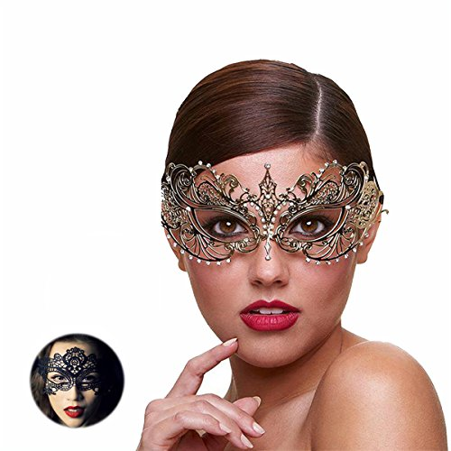 Gold Venetian Masquerade Mask - Masquerade Mask for Women Ultra Light Shiny Metal Rhinestone Venetian Pretty Party Evening Prom Ball Mask Luxury Metal Mask Come with Free Lace Mask (Golden Butterfly)