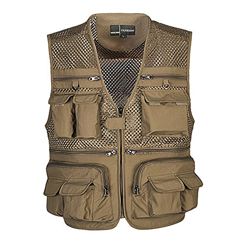 Ziker Men's Mesh Breathable Openwork Camouflage Journalist Photographer Fishing Vest Waistcoat Jacket Coat (Khaki