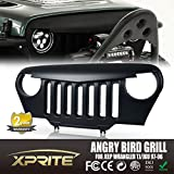Xprite Front Matte Black Angry Bird Grille Grid Grill for 1997 - 2006 Jeep Wrangler TJ LJ