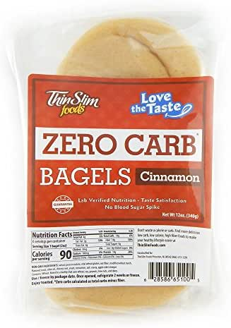 ThinSlim Foods 90 Calorie, 0g Net Carb, Love The Taste Low Carb Cinnamon Bagels