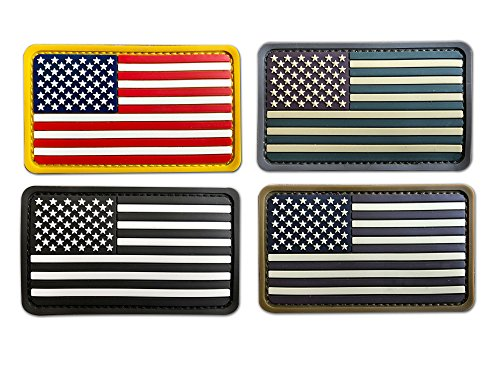 Bundle 4 Pieces Soft 3D PVC Rubber US USA American Flag Patc