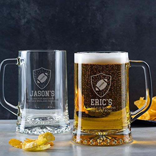 Football Beer Glass - Personalized Football Gifts for Men - Unique Fathers Day - Birthday - Christmas Gift - Engraved Tankard Pint Mug with Handle ()