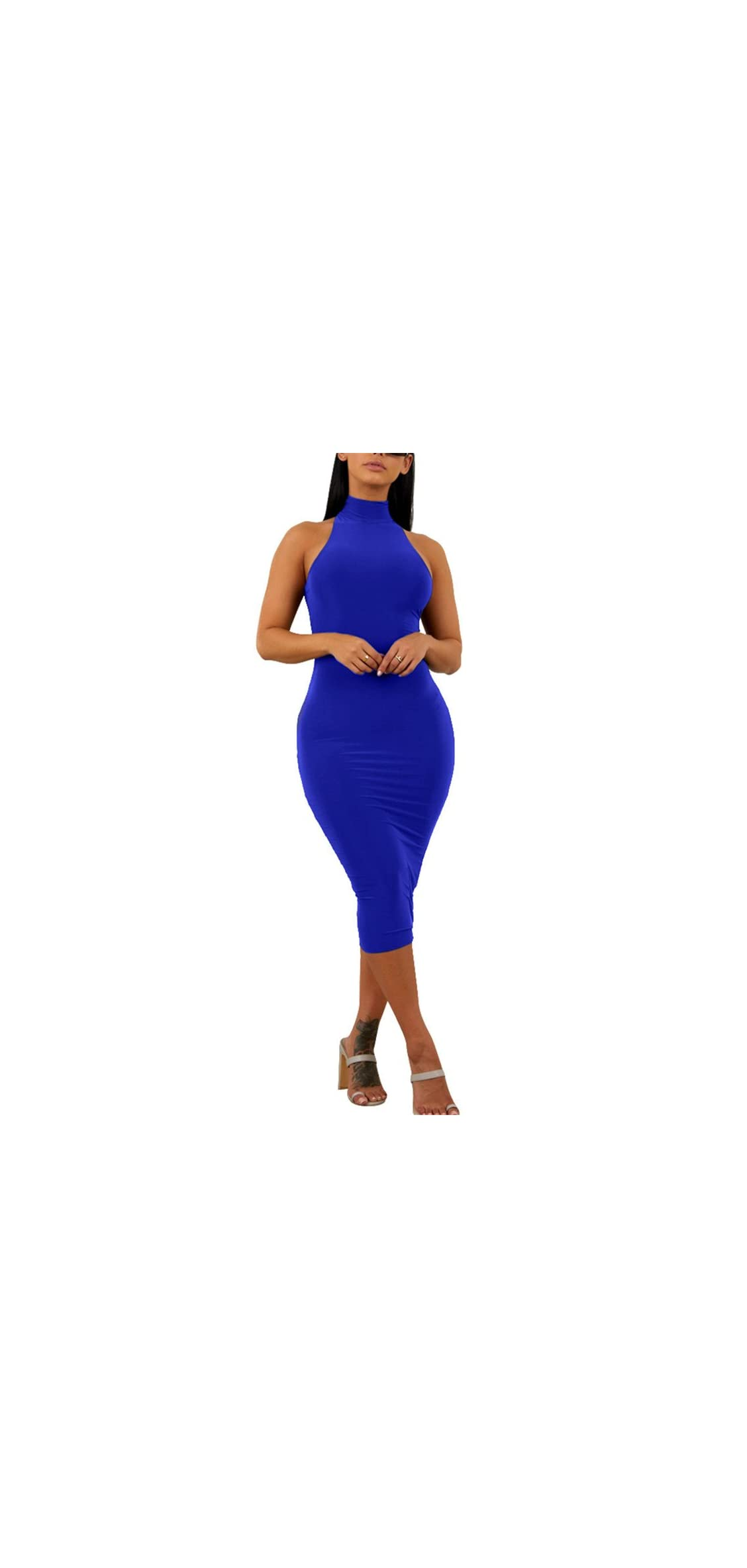 Women's Sexy Halter High Neck Elegant Sleeveless Bodycon