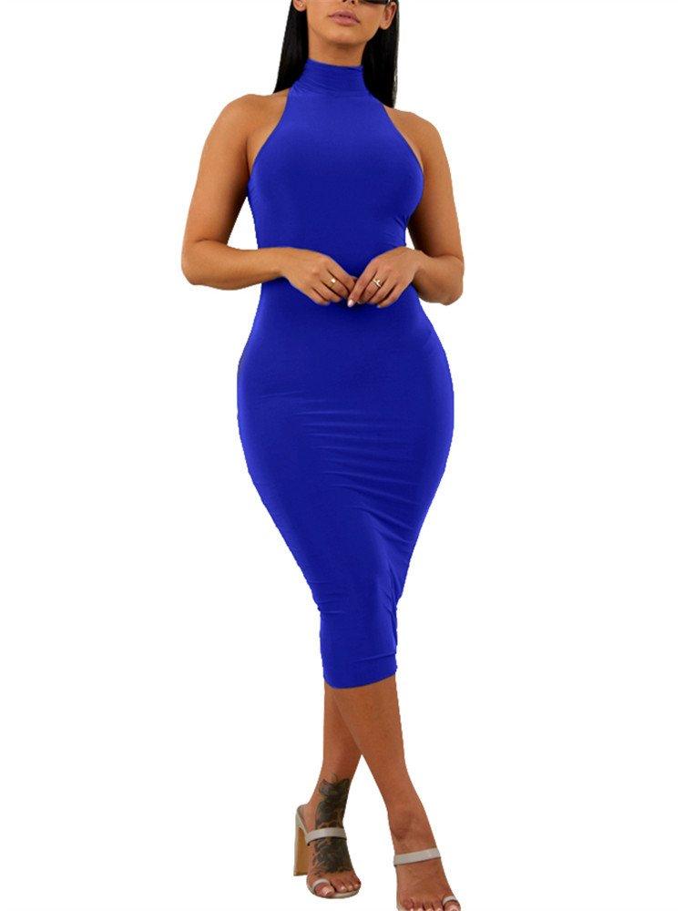 GOBLES Women's Sexy Halter High Neck Elegant Sleeveless Bodycon Midi Club Dress Royal Blue