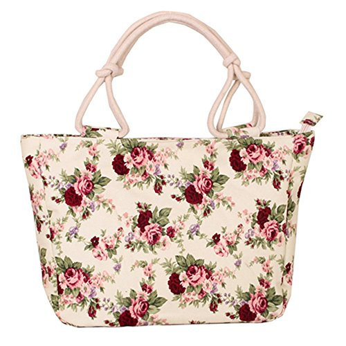 WongSinTong Women's Sweet Flower Purse Handbag Canvas Travel Shoulder Tote Bag - Flower Tote Bag