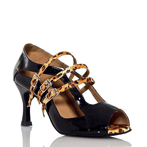 Miyoopark - salón mujer Black/Leopard-7.5cm heel