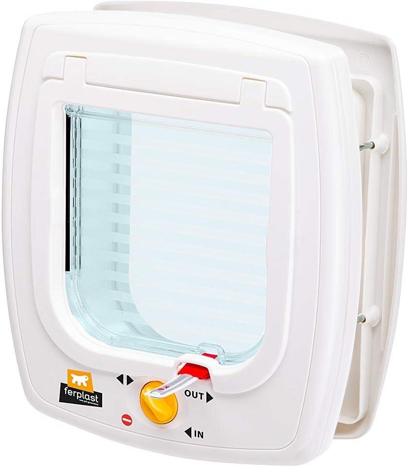 Ferplast Puerta abatible para animales pequeños SWING 5 Gattaiola, paso universal, controlable, protección contra corrientes de aire, túnel parcial, Blanco (White), 22,5 x 9,6 x 25,2 cm
