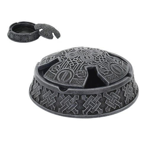Celtic Cross Faux Stone Knotwork Round Ashtray With Lid Figurine