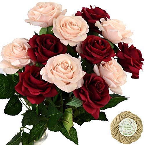 FiveSeasonStuff Fake Roses Wedding Flowers Real Touch Silk Enchanting Rose Mix Artificial Flowers (Dark Red, Champagne Pink) 12 Stems
