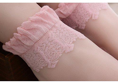 FOANA ultrasottili Rosa calze cristallo trasparente tulle in e Calzini corti trasparenti elastici pizzo 4wF4nOCx0q