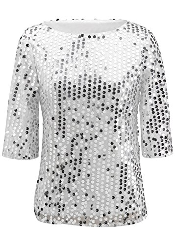 Womens Sparkle Glitter Tank Sequin Embellished Blouse Top T Shirt White M (Sequined 3/4 Sleeve Top)