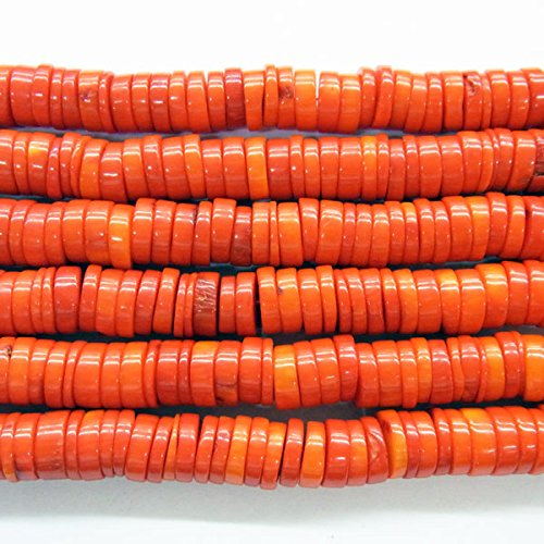 Red Chip Coral Bracelet (TheTasteJewelry 10mm Orange Coral Button Chips Beads 15 inches 38cm Jewelry Making Necklace Healing)