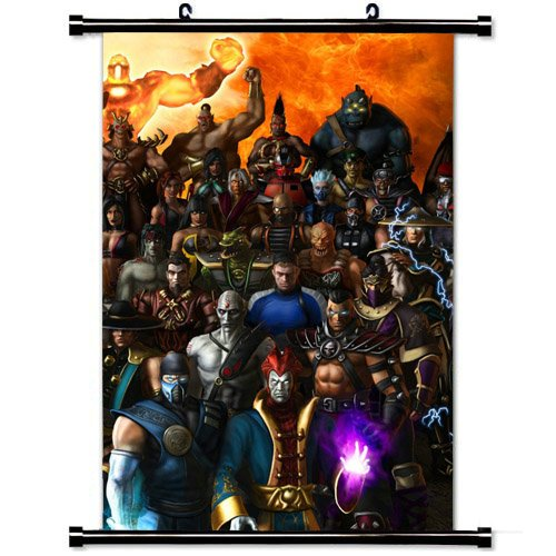 Wall Scroll Poster with Mortal Kombat Characters Faces Magic Sky Home Decor Wall Posters Fabric Painting 23.6 X 35.4 Inch (Mortal Kombat Characters Poster)