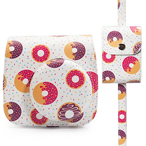 Cool Little Camera Case (Woodmin Groovy Donut PU Leather 2-in-1 Accessories Bundle Set for Fujifilm Instax Mini 8 Mini 9 Camera (Camera case/Photo case))